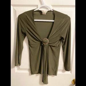 Jessica Green Shirt With Cropped Sleeves   Size S